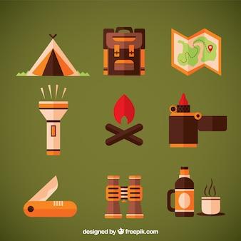 Vlakke camping objecten set