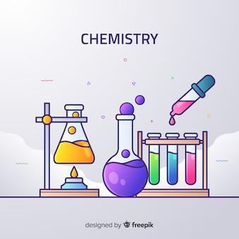 Vlakke chemie kleurrijke achtergrond
