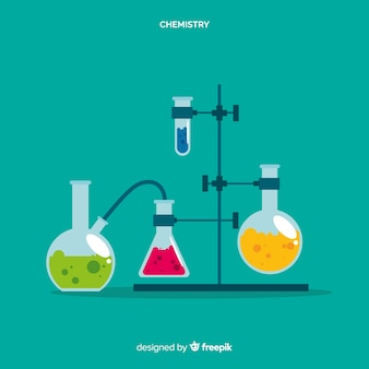 Vlakke chemie laboratorium met kolven