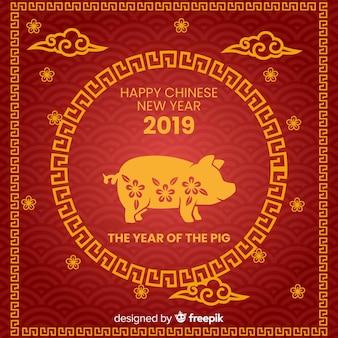 Vlakke chinese nieuwe jaar 2019 achtergrond