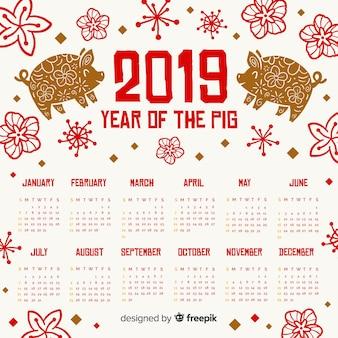 Vlakke chinese nieuwe jaar 2019 kalender