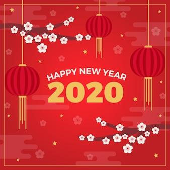 Vlakke chinese nieuwe jaarachtergrond