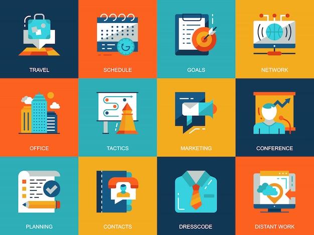 Vlakke conceptuele bedrijfs en ontwikkelings geplaatste pictogrammenconcepten