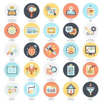 Vlakke conceptuele pictogrammenreeks hulpmiddelen van de zoekmachineoptimalisering voor de groeiverkeer, web-seo.