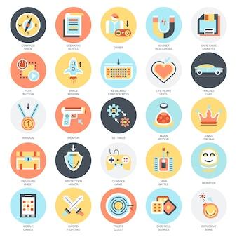 Vlakke conceptuele pictogrammenreeks spelvoorwerpen, mobiele gokkenelementen.