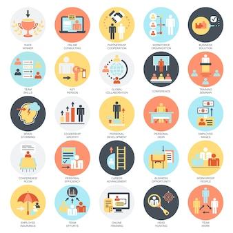 Vlakke conceptuele pictogrammenreeks van collectieve ontwikkeling, bedrijfsleidstheetraining.