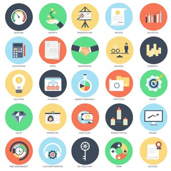Vlakke conceptuele pictogramreeks van de bedrijfs en financiëngroei