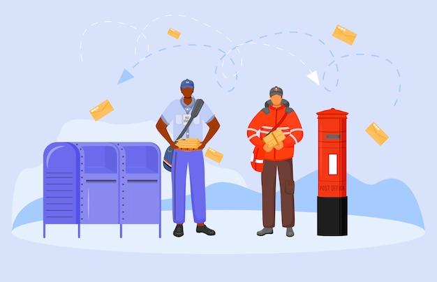 Vlakke de kleurenillustratie van postkantoor mannelijke arbeiders. royal mail medewerker. traditionele britse en amerikaanse postdienst. bezorger met pakket geïsoleerde stripfiguur op witte achtergrond