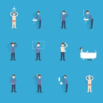 Vlakke de pictogrammen van hygiënepictogrammen met mensencijfers wassen lichaam die geïsoleerde vectorillustratie schoonmaken