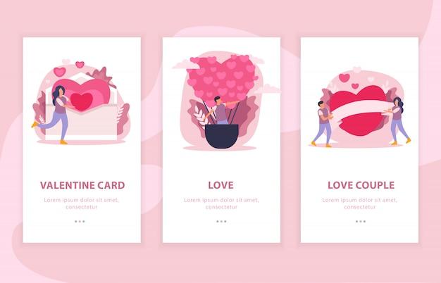 Vlakke de samenstellingsbanner van het liefdepaar die met valentijnskaartkaart en de illustratie van liefdebeschrijvingen wordt geplaatst