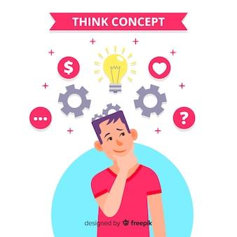 Vlakke desing het denken conceptenachtergrond