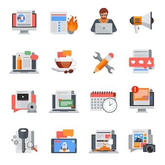 Vlakke die ontwerp blogging pictogrammen voor blogbeheer worden geplaatst op witte achtergrond geïsoleerde vectorillustratie
