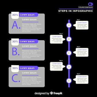 Vlakke donkere infographic stappen