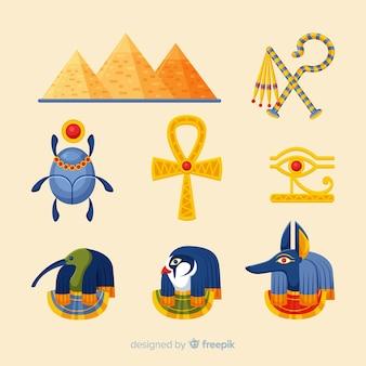 Vlakke egyptische symbolen en godeninzameling
