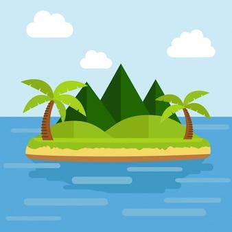 Vlakke eiland achtergrond ontwerp