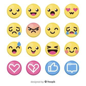 Vlakke emoticon-reactiecollectio