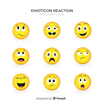 Vlakke emoticon-reactiecollectio