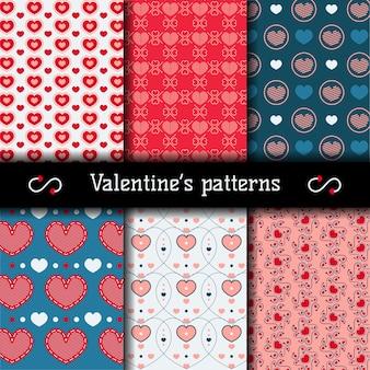 Vlakke en kleurrijke valentijnsdag patronen