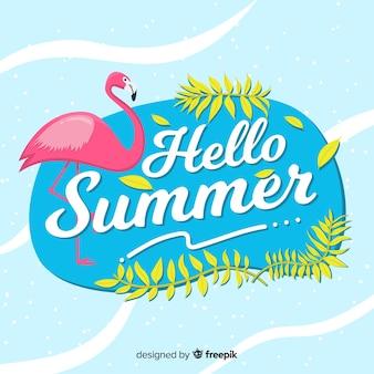 Vlakke flamingo hello zomer achtergrond