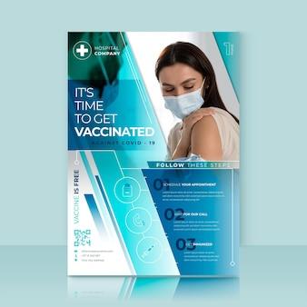 Vlakke flyer voor vaccinatie tegen coronavirus