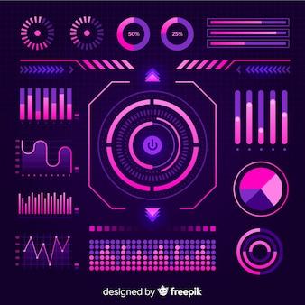 Vlakke futuristische infographic elementeninzameling