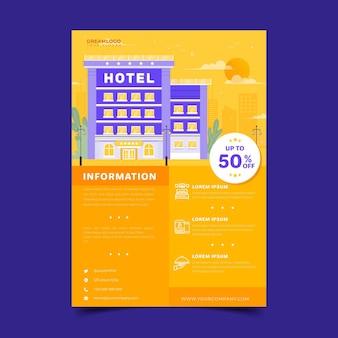 Vlakke geïllustreerde hotelinformatiefolder Premium Vector