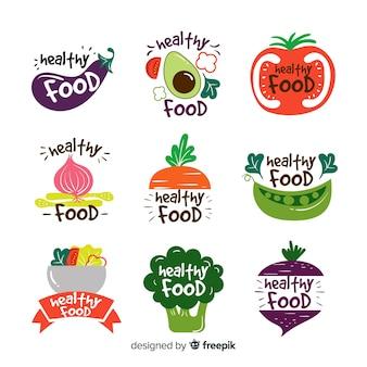 Vlakke gezonde voedselemblemen