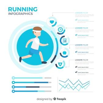 Vlakke gezondheidsinfographics van atleten
