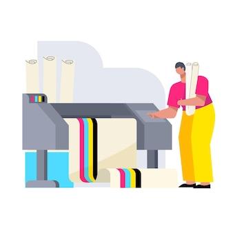 Vlakke grafische industrie geïllustreerd
