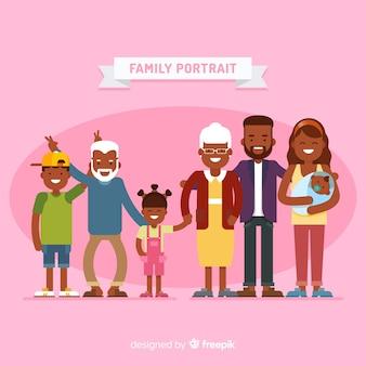 Vlakke grappige familieportret