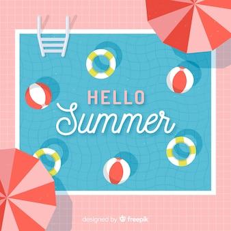 Vlakke hallo zomer achtergrond bij het zwembad