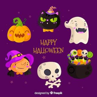 Vlakke halloween-elementeninzameling op purpere achtergrond