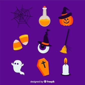 Vlakke halloween-elementeninzameling op violette achtergrond
