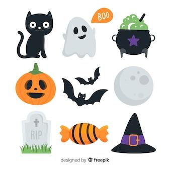 Vlakke halloween-elementeninzameling op witte achtergrond