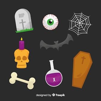 Vlakke halloween-elementeninzameling op zwarte achtergrond