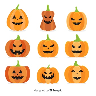 Vlakke halloween-pompoeninzameling op witte achtergrond
