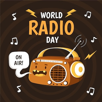 Vlakke hand getekend achtergrond wereld radio dag