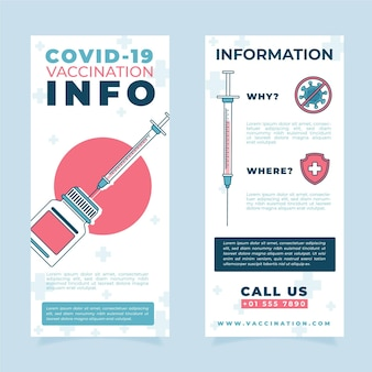 Vlakke hand getekend coronavirus vaccinatie informatieve brochure sjabloon