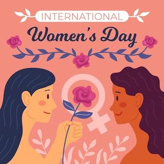 Vlakke hand getekend internationale vrouwendag illustratie