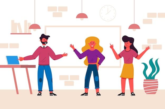 Vlakke hand getekend team coworking space