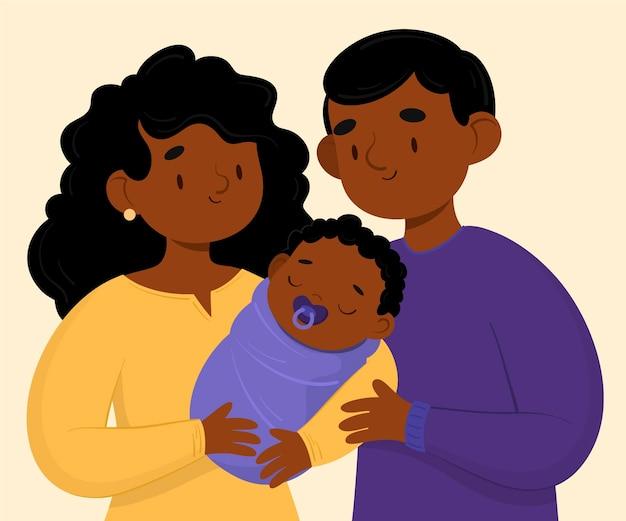 Vlakke hand getekend zwarte gezin met een baby