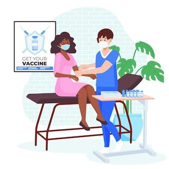 Vlakke hand getekende arts vaccin injecteren aan de illustratie van een patiënt