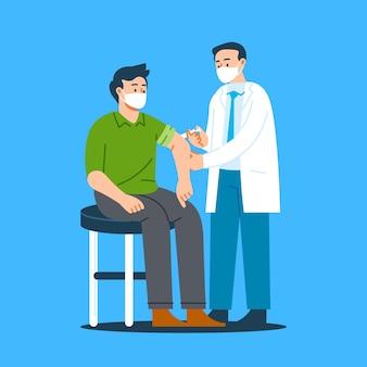 Vlakke hand getekende arts vaccin injecteren aan een patiënt