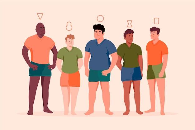 Vlakke hand getekende soorten mannelijke lichaamsvormen set