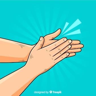Vlakke handen klappen achtergrond