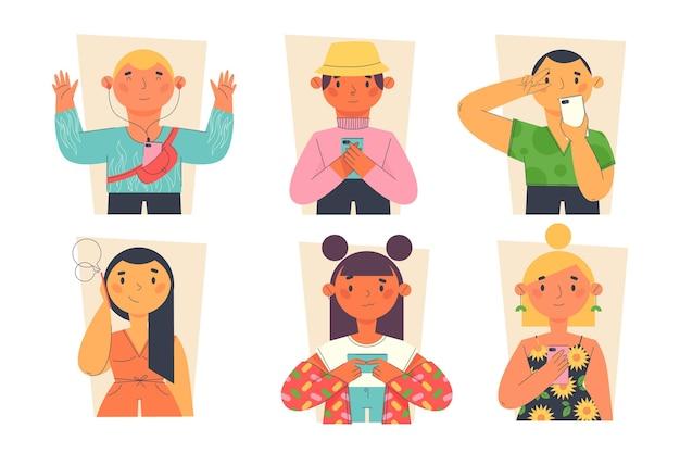 Vlakke handgetekende jongeren die smartphones gebruiken
