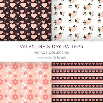 Vlakke harten en bloemen het patrooninzameling van de valentijnskaart
