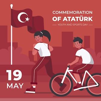Vlakke herdenking van ataturk, jeugd en sportdag illustratie Gratis Vector