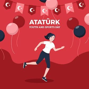 Vlakke herdenking van ataturk, jeugd en sportdag illustratie