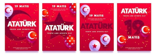 Vlakke herdenking van instagramverhalencollectie van ataturk, jeugd en sportdag